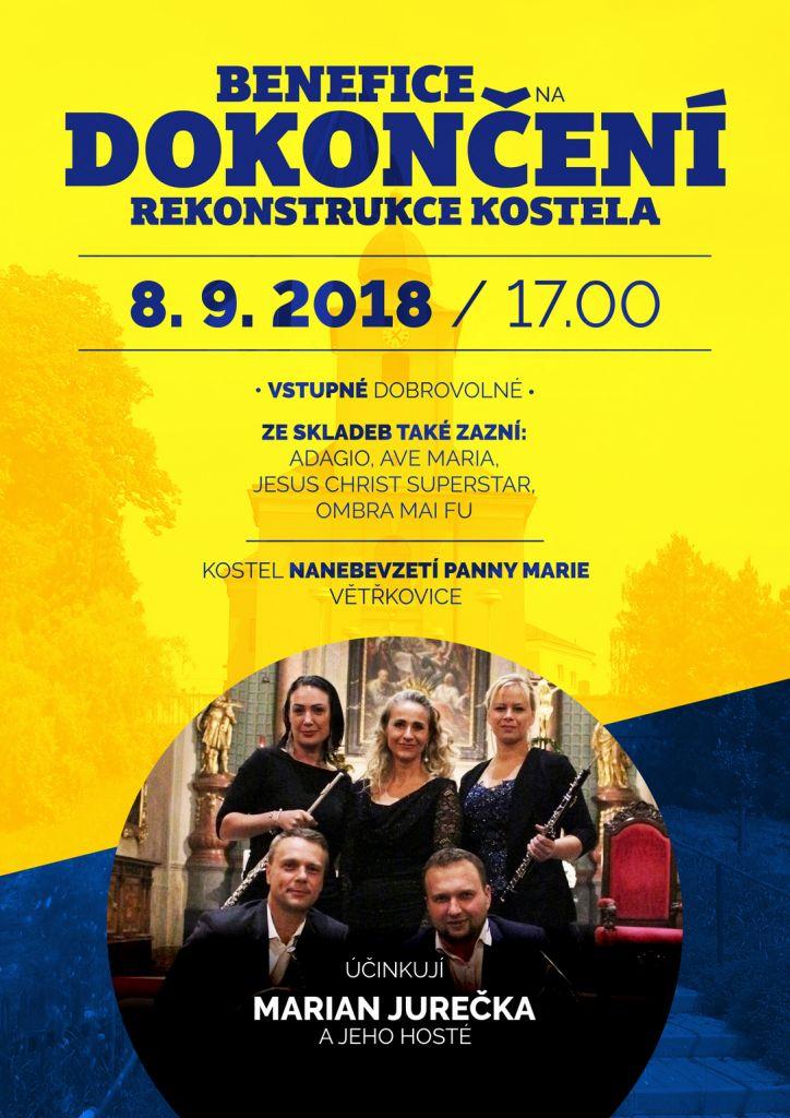 Plakát Benefiční koncert 8.9.2018 ve Větřkovicích